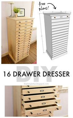 Get the free plans for this 16-drawer dresser!