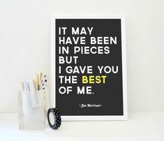 Jim Morrison Quote Print The Best of Me Gray door SacredandProfane