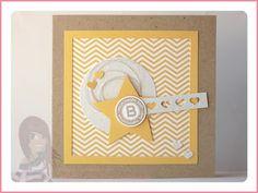 Stampin' Up! rosa Mädchen: Babykarte mit Designerpapier, Stern, Herzbordüre und Fürs Etikett