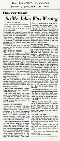 An entertaining editorial from the San Francisco Chronicle; January 29, 1939_Naming of Hoover Dam_Herbert Hoover Online Digital Library
