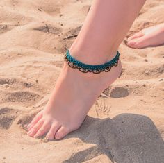 macrame Anklet with beads. Indian style, bellydance, tribal, bollywood, hippie, boho, ethnic