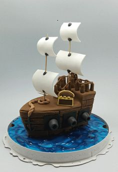 Pirate Ship Mini Cake... Mom made a regular sz. Cake like this with mice after the nursery rhyme for my son at age three