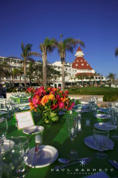 lime green + hot pink + Hotel Del Coronado = perfect summer beach wedding. Luxury Wedding Photography by photographer Paul Barnett.