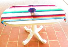 White Mexican Table Runner Authentic Serape by MexFabricSupplies