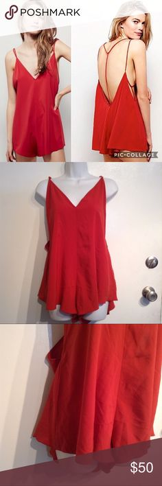 """FREE PEOPLE """"Serious Babe"""" Strappy Red Romper Free People """"Serious Babe Romper"""" in Marsala red. Deep v in front and back. Strappy back details. Sort of a rusty red/orange color. Perfect for a sexy boho look. Size XS. No modeling. Smoke free home. I do discount bundles. Free People Pants Jumpsuits & Rompers"""