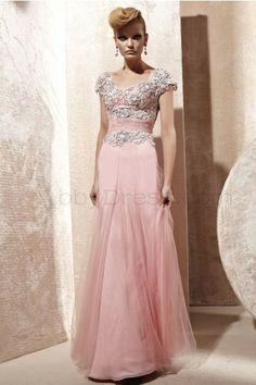 Elegant V-neck Short Sleeve Satin Evening Dresses Pink