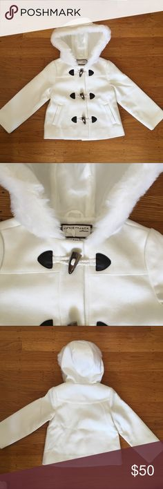 Janie and Jack coat White coat with toggle buttons and fur trim around the hood.  NWOT.  Size 3-4 Janie and Jack Jackets & Coats
