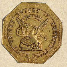 (USA) 1852 $50 Gold Coin Assay. USA.