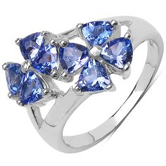 925 Sterling silver tanzanite ring with rhodium plating
