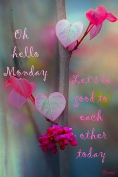 Hello monday - Let's be good to each other today - new week - quotes