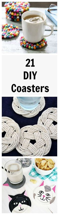 Protect your surfaces in style with these adorable DIY coasters. Fun crafts for all ages.