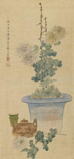 Chrysanthemum and Yixing teapot. Ink and colours on silk. Inscription, signed Zou Yigui and sealed Yigui zhi yin. Qing dynasty.