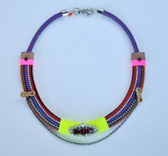 SALE.....Neon blue and orange rope collar by kasiaruszkowska, $100.00