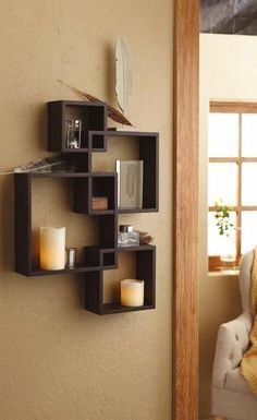 Generic Intersecting Squares Wall Shelf - Decorative Display Overlapping Floating Shelf - Home Decor Wall Art - Interlocking Shelves/Wall Cubes/Storage Cubes/Ledge Storage/Wall-Mounted Hutch, Set of 2 Candles Included - Espresso Decor, Floating Wall Shelves, Home Decor Sets, Wall Mounted Shelves, Wall Shelf Decor, Wall Cubes, Home Decor Wall Art, Shelving, Home Decor Furniture