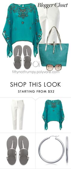 """Blogger Style"" by fiftynotfrumpy ❤ liked on Polyvore featuring French Connection, Monsoon, Danielle Nicole, Havaianas, Blue Nile, Diane Von Furstenberg, sheer tops, silver sandals, white pants and teal"