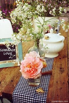 Romantic picnic BBQ  summer party decor outdoors flowers country