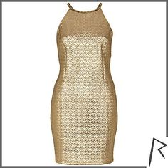 #RihannaforRiverIsland Gold Rihanna embossed racer front dress. #RIHpintowin click here for more details >  http://www.pinterest.com/pin/115334440431063974/