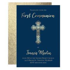 first communion SIMULATED gold foil effect Invitation   Zazzle.com