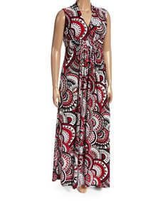 Another great find on #zulily! Red & Black Medallion Surplice Maxi Dress - Plus #zulilyfinds