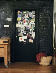Chalk-Board Walls & a door plastered with Memories. Love it!