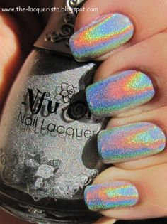 Nfu.Oh 61, silver holographic nail polish.  Oh so pretty! I want this!
