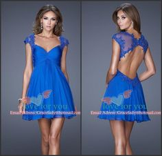 Free Shipping Royal Blue Short Prom Dresses 2014 New Fashion Cap Sleeve Applique Lace Sexy Formal Dress Vestido de festa curto $119.00