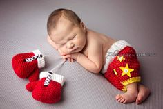 Newborn Boxing Set Tiny Boxer Boxing Gloves by whimsylaneboutique