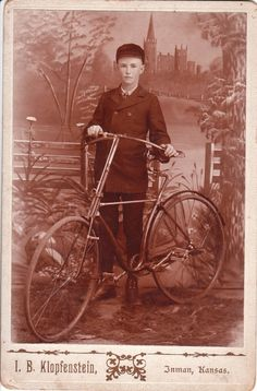 A boy & his bike in Inman, Kansas, 1895
