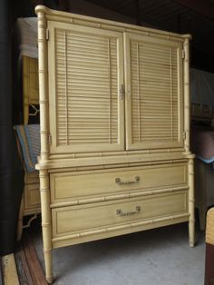 Armoire Henry Link Faux Bamboo Tall Chest of Drawers Dresser Highboy Regency #HenryLink #HollywoodRegency