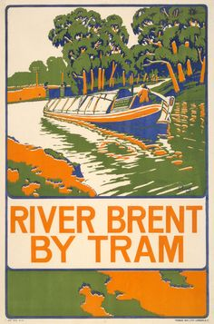 LONDON River Brent by Tram, Poster by Paul Rieth. The river rises in the Borough of Barnet and flows in a generally south-west direction before joining the Tideway stretch of the Thames at Brentford.