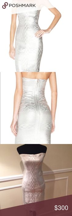 Herve Leger Dress Authentic Herve Leger Silver Marine Foil Print Strapless Dress Concealed center back zipper with hook and eye closure  Foil print bandage appliqué throughout  Has been worn once only Herve Leger Dresses Strapless