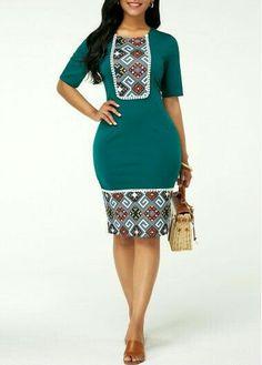 Bodycon Dresses Zipper Back Tribal Print Sheath Dress Short African Dresses, Latest African Fashion Dresses, Women's Fashion Dresses, Dress Outfits, Sexy Dresses, Trendy Dresses, African Print Clothing, African Print Fashion, Dashiki Clothing