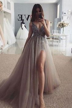 Fashion Tips 2018 Sexy Beaded Long Evening Dress Graduation Gown Customized School Dance.Fashion Tips 2018 Sexy Beaded Long Evening Dress Graduation Gown Customized School Dance Grey Prom Dress, Pretty Prom Dresses, Elegant Dresses, Prom Dresses Long Open Back, Lace Dress, Black Prom Dresses, Tulle Prom Dress, Awesome Dresses, Long Grey Dress