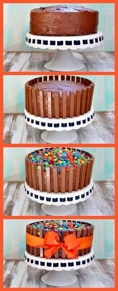 Leftover Halloween candy Kit Kat and M&M's cake! Torta Candy, Candy Cakes, Cupcake Cakes, Just Desserts, Delicious Desserts, Yummy Food, Sweet Desserts, Food Cakes, Yummy Treats