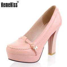 a8b93616b19 KemeKiss Office Lady High Heel Shoes Women Platform Buckle Solid Color Pumps  Female Fashion Daily Work