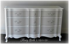 Mary Beth's Place French Provincial makeover using General Finishes Seagull Gray and Snow White