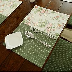 Set of 4 French Country Style Poly/Cotton Placemates Dining Table Cloth, Table Runner And Placemats, Table Napkin, French Country Style, Rustic Style, Place Mats Quilted, Polka Dot Fabric, Polka Dots, Mug Rugs