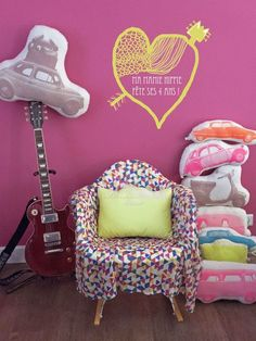 "Ma mamie hippie pillows with images of a Fiat 500, DS, ""deudeuch"", Vespa, caravan or VW van. Available in musical and non-musical versions and several neon and vintage colours at shop.mamamiehippie.com."