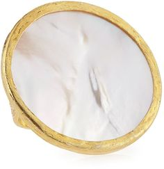 NEST Jewelry 22k Gold Plate Round Mother-of-Pearl Ring