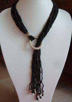 Collier Fantaisie OCé Sharon, Cascade Perles de Verre Noires