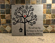12x12 It's not how big the house is, it's how happy the home is, Family Sign, Family Tile, Family Gift, Custom tile or wooden sign - pinned by pin4etsy.com
