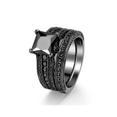 Amazon.com: Zealmer 2 Pieces Black Gold Plated Round/Princess Cut Black CZ Cubic Zirconia Halo Bridal Ring Set: Jewelry