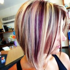 Color Hair Idea for Short Hair, Hair Color Mauve Colors, Fall Hair Color Trend, Bob Hair Ladies Inverted Burgundy Blonde Hair, Blonde Ombre Hair, Hair Highlights And Lowlights, Hair Color Purple, Hair Color Highlights, Blonde Color, Cool Hair Color, Peekaboo Highlights, Hair Colors