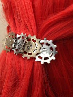 Steampunk Bent Gear Hair Clip by ArcanumByAerrowae