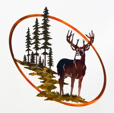 Excited to share this item from my shop: Whitetail Buck, Trees, & Mountain Wildlife Oval Deer Scene Metal Art Leaf Wall Art, Metal Tree Wall Art, Metal Art, Mountain Cabin Decor, Man Cave Metal, Outdoor Metal Wall Art, Tree Artwork, Whitetail Bucks, Art Themes