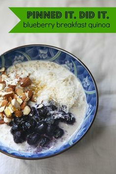 A new Pinned it. Did it. post all about blueberry breakfast quinoa. :: Doña is guest posting about quinoa today. LOVE the way she talks about cooking as sketching.