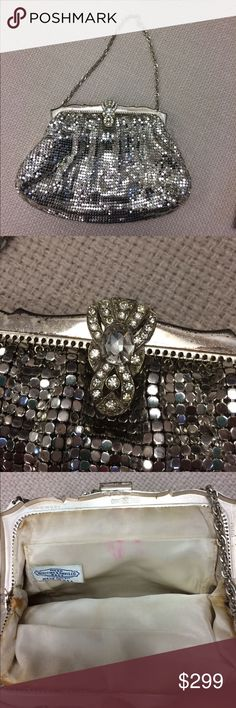 Whiting And Davis circa 40's-50's Mesh evening bag This is vintage and in shows some wear in the inside and out.  Considering the age,  this is in good to fair condition.  Collectible with the crystal lock on top.  FINAL SALE whiting and davis Bags Clutches & Wristlets