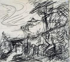 Frank Auerbach, Drawing from Ariadne and Bacchus at the National Gallery, c. Frank Auerbach, Landscape Drawings, Abstract Drawings, Abstract Landscape, Landscapes, Creepy Drawings, Cool Drawings, Contour Drawings, Drawing Faces