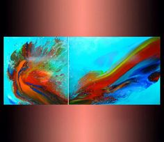 Original Large Abstract Turquoise Painting A beautiful, impressive work of art in a modern style. This one of a kind painting is an original piece of artwork, created by hand in my studio in Greece  TITLE: Passionate fantasies SIZE: 2 panels 24 x 24 x 1.5 ......... ( 60 x 60 x 3,5 cm) + 24 x 31.5 x 1,5...... (60 x 80 x 3,5 cm) = 24 x 55  (60 x 140) combined ! MEDIUM: Golden Fluid Acrylic, Pouring Medium MATERIALS: Canvas on Wooden Frame Condition: Excellent, Brand new Signed on front an...