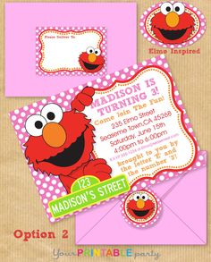 printable party invitationgirly elmo pink orange and red